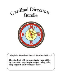 Social Studies: Cardinal Directions: 6 printables key concepts include:.Define a compass rose.Define cardinal directions, north, south, east and west.Locate and describe location of items using cardinal directionsKeywords: 1-3, Maps, Social Studies, Rose Compass Map skills, Geography, cardinal directions, Map skills