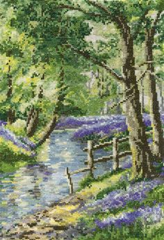 Bluebell Haven (Bluebell Wood) Cross Stitch Kit Cross Stitch Designs, Cross Stitch Patterns, Cross Stitching, Cross Stitch Embroidery, Pixel Painter, Phad Painting, Cross Stitch Landscape, Wood Crosses, Counted Cross Stitch Kits