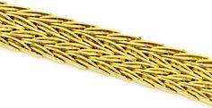 Foto 2, Armband Designer-Fischgrätmuster Goldarmband massiv 14K, K2251