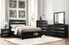 Zandra Contemporary Black Wood Platform Master Bedroom Set