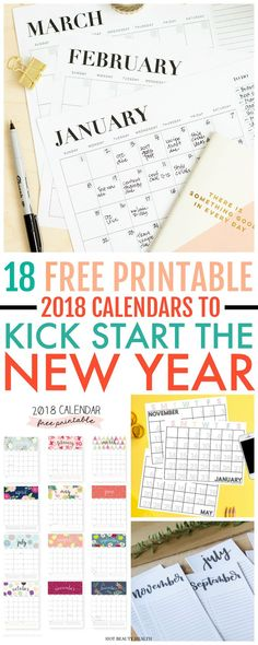Here's a curated list of 18 free printable 2018 calendars to kick start the new year. A printable monthly calendar is perfect for making to-do lists, jotting down your resolutions, adding reminders or just organizing your life. Find all kind of designs from minimal and modern to portrait and landscape! Hot Beauty Health #printables #printablecalendar