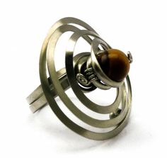anillo de plata alemana en espiral con ojo de tigre  plata alemana,alpaca,piedra semipreciosa alambrismo,wire wrapped