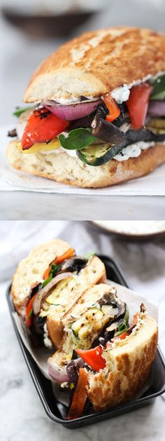 Grilled Vegetable Sandwich with Herbed Ricotta gets tastier and tastier with eve… – Kolay yemek Tarifleri Gourmet Sandwiches, Gourmet Burger, Veggie Recipes, Vegetarian Recipes, Cooking Recipes, Healthy Recipes, Grilling Recipes, Vegetarian Panini, Vegetarian Sandwiches