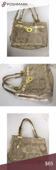 Women's Coach Bag Gold Tan Signature Logo Purse Nice condition. Shows minor signs of wear. Has a few stains. See pictures for more reference on condition.   Check out my other items! Coach Bags Shoulder Bags