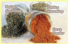 I guess I'm on a spice kick this week.I've shared several of my favorite spice mixes in previous posts (Fiesta Taco Seasoning Mix, 14-Spice Dry Rub Mix, and Pumpkin Pie Spice Mix).    Today I'm sharing recipes for 3 more of my favorite homemade spice mixes. These are made with herbs and spices that you may already have in your pantry, and they are so versatile.
