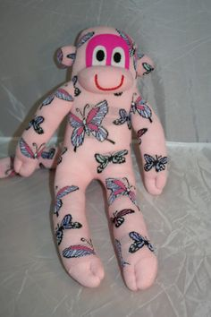 Check out this item in my Etsy shop https://www.etsy.com/listing/201957579/pretty-pink-butterfly-sock-monkey-plush