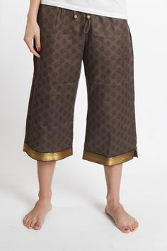 """SAI Capri (with border) i would probably wear as pants """"PUNJAMMIES™ are made by women in India rescued from forced prostitution seeking to rebuild their lives. Proceeds from the sales of PUNJAMMIES™ provide fair-trade wages, savings accounts, and holistic recovery care."""""""