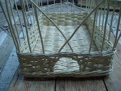 "white basket 14 x 22 x 5"" high.  All the weave done (slewed weave) and top wale.  Basket is now ready for bordering down."