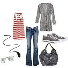Red and white striped tank, grey cardigan, dark jeans, grey converse, studded grey purse, black necklace, diamond stud earrings outfit