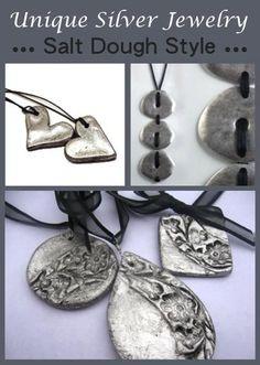 Unique-Silver-Jewelry made with salt dough :) Keep Jewelry, Clay Jewelry, Jewelry Crafts, Jewelry Making, Jewlery, Agate Jewelry, Jewelry Ideas, Diamond Jewelry, Handmade Silver