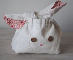 Tialys: White Linen and Pink Liberty Lapin  Little Lunch Bag   by tialys, $40.00
