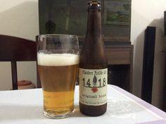 Cerveja Flanders Fields Ale 14-18 Original Blond, estilo Belgian Blond Ale, produzida por Flanders Fields Brewery, Bélgica. 6.5% ABV de álcool.