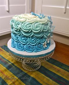 Blue ombre birthday cake by BlakeyCakes