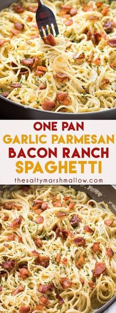 One Pan Bacon Ranch Garlic Parmesan Pasta is an easy and. One Pan Bacon Ranch Garlic Parmesan Pasta is an easy and satisfying one pot pasta meal that the whole family will love. A quick weeknight dinner recipe that is ready in 30 minutes or less! Easy Dinner Recipes, Yummy Recipes, Cooking Recipes, Yummy Food, Healthy Recipes, Recipies, Salad Recipes, Quick Meals For Dinner, Quick Supper Ideas