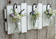 NEW...Rustic Farmhouse...Reclaimed Wood Wall Decor...Set of 3 Hanging Mason Jars... Candle Holder.. Made to Order