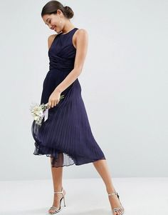 ASOS   ASOS WEDDING Pleated Midi Dress with Ruched Detail