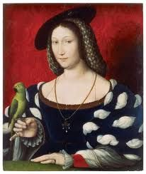 Marguerite of Navarre, mother of French Enlightenment, let John Calvin hide from Pope in Navarre. Wrote heretical gnostic/Cathar poems where simple peasant woman's blind love for Christ said to be greater than pious book learned mouthings of male Papist scholars. Pythagorean Akousmati 'hearers' surpass Mathematikoi. Holds parrot, symbol of mystic Green Language of Birds that inspires Cathar troubadours. Red curtain colour of male root chakra, female heart chakra, between breasts, is deep…