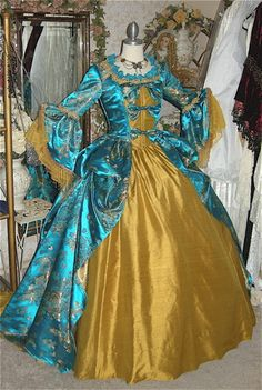 Turquoise/Gold Fantasy Marie Antoinette Gown/Costume