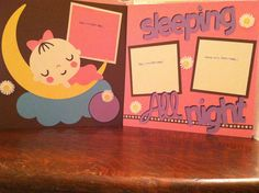 Baby Girl Sleeping All Night Pre Made 12 x 12 Double Page Layout. $12.00, via Etsy.