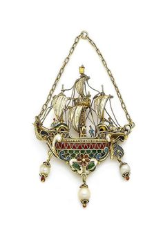 A gold, pearl and enamel ship pendant, circa 1860. In neo-renaissance style, the…