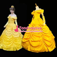 Free Shipping Disney Belle Princess dress Movie Costume cosplay Tailor-made
