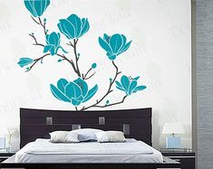 Magnolia Flower Blossom Decal Large Tree Branch Stickers Floral Wall Art Home Decor Decals Removable Vinyl Sticker Living room Bedroom Wall Painting Decor, Wall Decor, Tv Wall Cabinets, Wall Decals For Bedroom, Magnolia Flower, Floral Wall Art, Blossom Flower, Living Room Bedroom, Wall Prints