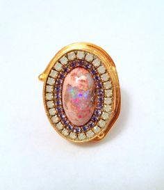CYBERSALE Mexican boulder fire opal by YaronaJewelryDesign on Etsy, $141.90