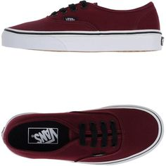 Vans Sneakers (€90) ❤ liked on Polyvore featuring shoes, sneakers, vans, zapatos, maroon, vans trainers, maroon shoes, round toe flat shoes, flat sneakers and flat shoes