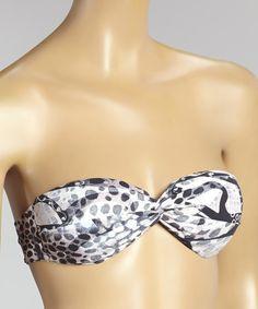 Look at this #zulilyfind! Black Animal & Neutral Juliette Bandeau Bikini Top - Women #zulilyfinds