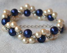 amarillo pulsera de perlas brazalete de perlas por glasspearlstore