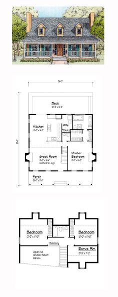 Country House Plan 41021 | Total Living Area: 1604 sq. ft., 3 bedrooms and 2.5 bathrooms. #countryhome