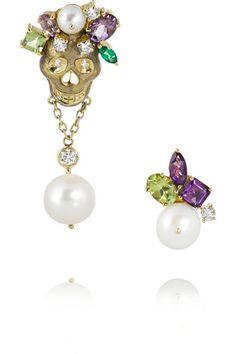 Holly Dyment Skull 18-karat multi-stone earrings