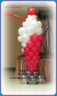 Ice cream sundae balloon decor! Start with patio umbrella base, pvc pipe & blow