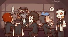 Hollywood Undead members, text, cute, chibi, bar, funny; Hollywood Undead