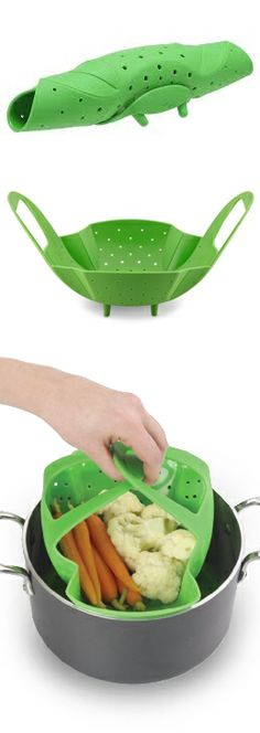Vegetable Steamer // So much better than the classic steel steamer... this one is made from heat-proof non-toxic silicone, and even rolls up for storage! #product_design #industrial_design