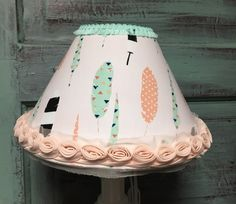Lampshade tribal feathers mint coral bell shape by HolyChicBoutiqueCo on Etsy