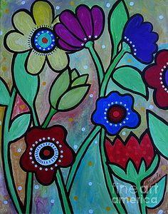 Flowers In Spring Print by Pristine Cartera Turkus Folk Art Flowers, Mosaic Flowers, Abstract Flowers, Flower Art, Mexican Flowers, Painting Patterns, Fabric Painting, Spring Painting, Mexican Folk Art