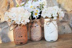 Three Rustic Mason Jars Wedding Centerpieces by charmcitycharm