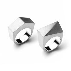 www.ORRO.co.uk - Patrik Hansson – Silver Diagonal & Ridge Ring - ORRO Contemporary Jewellery Glasgow...