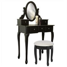 Vanity Table Jewelry Makeup Desk Bench Drawer Black Solid Wood Construction New (00813373016512) Best Choice Products is proud to present our brand new vanity table set. This stylish contemporary vanity table comes with swivel adjustable mirrors and 5 storage drawers. It s great for storing all your jewelry and smooth tabletop provides space for cosmetics and beauty supplies. It also includes a matching wooden stool with floral padded upholstered seat. This is sure to accent your bedroom. We…