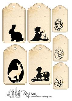 Fiche étiquettes Paques silhouettes Cote Passion- think this means Easter tags Vintage Tags, Vintage Paper, Etiquette Vintage, Easter Printables, Printable Labels, Easter Crafts, Easter Bunny, Gift Tags, Stencil