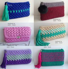 Discover thousands of images about Handmade T-Shirt Bag Crochet Crochet Clutch Bags, Crochet Wallet, Crochet Pouch, Crochet Diy, Crochet World, Crochet Handbags, Crochet Purses, Love Crochet, Crochet Crafts