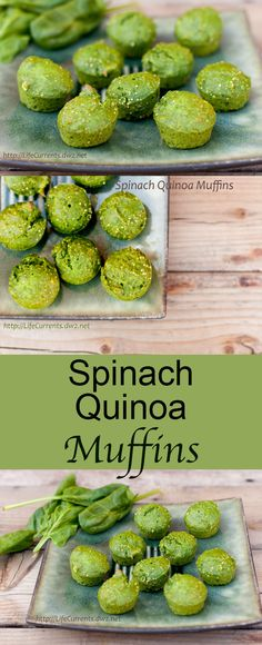 """Spinach Quinoa Muffins - Life Currents I'd like to call these """"Oscar The Grouch Muffins"""". Green and kind of gruff looking, but ultimately lovable and yummy!"""