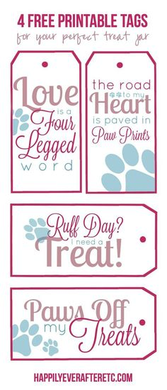 How to DIY a Dog Treat Jar with 4 Free Printable Tags - Happily Ever After, Etc. Homemade Dog Treats, Healthy Dog Treats, Cat Treats, Doggie Treats, Free Printable Tags, Free Printables, Yorkies, Dog Treat Recipes, Dog Food Recipes