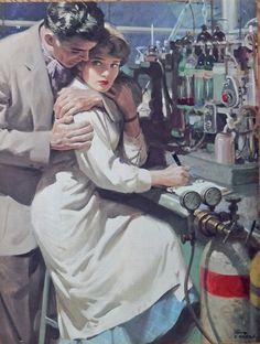 Tom Lovell 50 s Color Illustration  scarce print art   man hugging woman at work  1953  Art