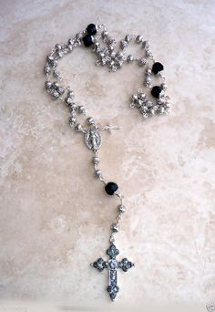 Swarovski Crystal Miraculous Antique Bali Silver Rosary w/Crystal Cross