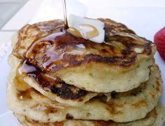 Greek Yogurt Pancakes. Used: 1 1/2 c. ww flour, 1 tsp each baking powder  & soda, 12 oz. plain greek yogurt, 3 eggs. Made 10 pancakes, easily served 5.