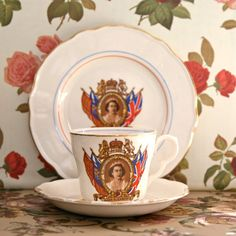 Queen Elizabeth II Coronation Teacup, Saucer and Cake Plate, 1953. I think I have the plate somewhere, although it may be a slightly later one - still, you can't argue with coronation china!