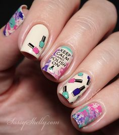 """KEEP CALM"" Nail Polish Bottles Manicure - stamping decal and splatter nail art with OPI & Bundle Monster 