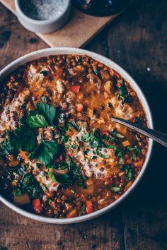 Creamy and delicious lentil and vegetable stew. This stew is super tasty, easy to make and vegan. With vegetables and puy lentils. Lentil Recipes, Easy Soup Recipes, Veggie Recipes, Vegetarian Recipes, Healthy Recipes, Vegetarian Dinners, Quick And Easy Soup, Lentil Stew, Vegetable Stew